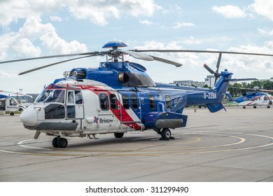 ABERDEEN, SCOTLAND - AUGUST 30 2015: Heicopter parks at the Bristow Heliport