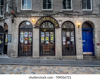 ABERDEEN, SCOTLAND: JULY 23: Exterior facade of Drummonds pub in the evening on  July 23, 2017 in Aberdeen, Scotland. Drummonds is a popular Aberdeen watering hole.