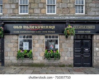 ABERDEEN, SCOTLAND: JULY 23: Exterior facade of the Old Blackfriars pub in the evening on  July 23, 2017 in Aberdeen, Scotland. The Old Blackfriars is a popular Aberdeen watering hole.