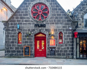 ABERDEEN, SCOTLAND: JULY 24:  The Musa food, art and music venue in the evening on  July 24, 2017 in Aberdeen, Scotland. Musa is a popular spot for Aberdeen nightlife.