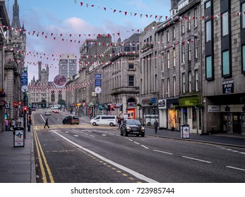 ABERDEEN, SCOTLAND - JULY 24: Union Street on July 24, 2017 in Aberdeen, Scotland. Union Street in the main street through the old part of Aberdeen.