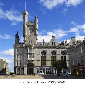 ABERDEEN, SCOTLAND - SEPTEMBER 2, 2016: Castle Street, city of Aberdeen - nicknames include the Granite City, the Grey City and the Silver City with the Golden Sands.