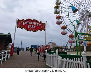 Aberdeen, Scotland, UK - August 11, 2019 : Big Wheel Game and Amusement Park Sign in Condonas Amusement Park in Aberdeen, Scotland.