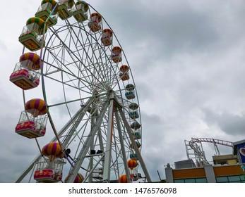 Aberdeen, Scotland, UK - August 11, 2019 : Big Wheel Game in Condonas Amusement Park in Aberdeen, Scotland.