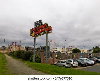 Aberdeen, Scotland, UK - August 11, 2019 : Pirate Island Sign in Condonas Amusement Park in Aberdeen, Scotland.