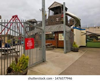 Aberdeen, Scotland, UK - August 11, 2019 : Entrance of Condonas Amusement Park in Aberdeen, Scotland.