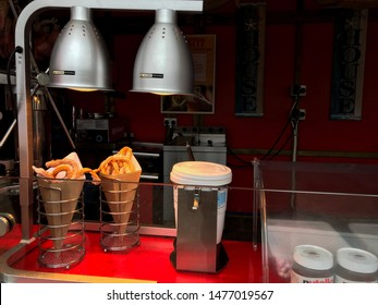 Aberdeen, Scotland, UK - August 11, 2019 : Churros in Codonas Amusement Park in Aberdeen, Scotland.