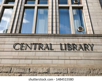 Aberdeen, Scotland, UK - August 25, 2019 : Central Library Sign on the Central Library's building in Aberdeen, Scotland. The headquarters for library services within Aberdeen City.