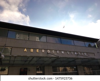 Aberdeen, Scotland, UK - August 3, 2019 : Aberdeen Station building and entrance in front of Union Square in Aberdeen, Scotland.