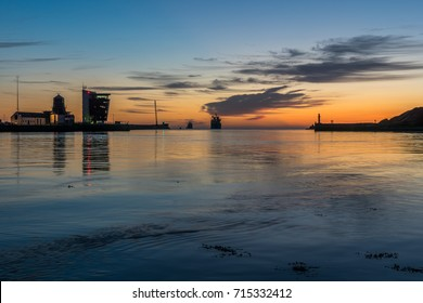 Aberdeen, Scotland, UK, August 30th 2017. Aberdeen Harbour basin and estuary.
