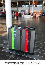Aberdeen, Scotland, UK - August 4, 2019 : Recycling bins at Union Square in Aberdeen Scotland.