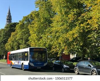 Aberdeen, Scotland, UK - September 16, 2019 : Stagecoach bus no. X17 in Aberdeen, Scotland.