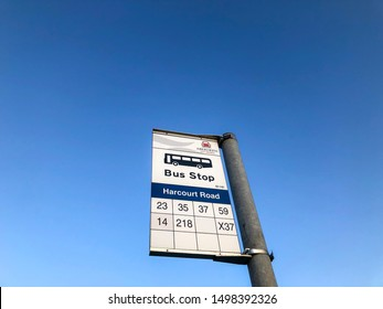 Aberdeen, Scotland, UK - September 5, 2019 : Harcourt Road Bus Stop Sign for buses 23, 35, 37, 59, 14, 218, and X37