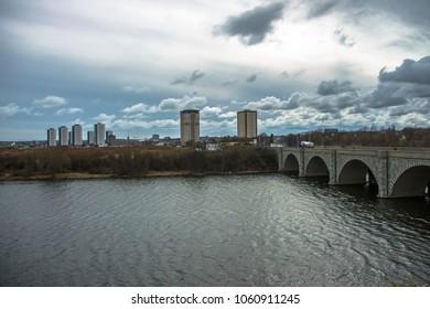 Aberdeen, Scotland / United kingdom - April 2nd 2018: Cityscape and Bridge of Don in Aberdeen, Scotland, UK.