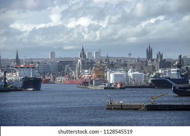 Aberdeen, Scotland / United Kingdom - April 17th 2018: Harbour and the city landscape
