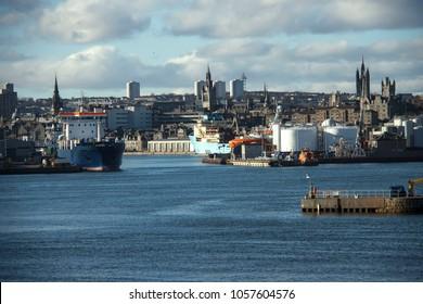 Aberdeen, Scotland, United Kingdom. Harbour and skyline city. February 2018