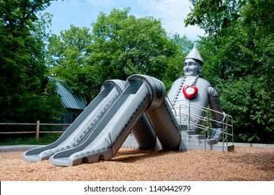 Aberdeen, South Dakota, USA - 7/2018: Storybook Land, Tin Man slide