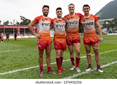 Aberdeen Sport Ground, Hong Kong-April 21st 2019FWD South China Tiger's player JAMIE LAUDER, GLYN HUGHES, TOM HILL and JAMES SAWYER (from left to right) at the Global Rapid Rugby Showcase series 2019
