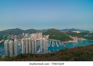 Aberdeen Typhoon Shelters view at Yuk Kwai Shan (mount Johnston)located in Ap Lei Chau, Hong Kong