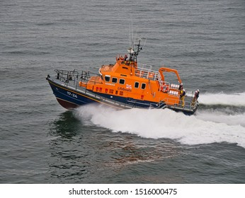 Aberdeen, UK - September 9, 2019: Aberdeen RNLI Lifeboat at sea, travelling at speed - this is a Severn class, self-righting, all-weather lifeboat with a crew of 7.