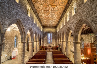 Aberdeen, United Kingdom - 8 November 2017: Interior view of St Machar's Cathedral, a church in Aberdeen, Scotland. It is located to the north of the city centre.