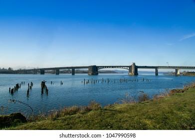 Aberdeen, Washington / USA - March 10, 2018: The Chehalis River Bridge spans the Chehalis River where it  meets the Wishkah River in Grays Harbor County, WA.