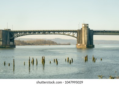 Aberdeen, Washington / USA - March 10, 2018:  The Chehalis River Bridge built was built in 1955 and spans the mouth of the Chehalis River in Grays Harbor County, WA.