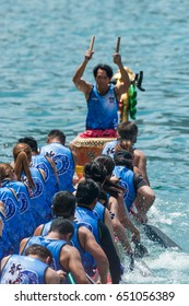 ABERDEEN-HONG KONG,MAY 30,2017: Dragon Boat racing, a tradition in Chinese cultures, along the canals in Aberdeen district in MAY 30,2017