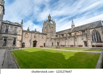 ABERDEEN,SCOTLAND,17 JUNE 2018-Aberdeen University King's College building captured on a beautiful late summer morning. Founded in 1495 this is one of Scotland's oldest centres of learning