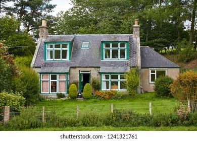 Aberdeenshire, Scotland. Circa 2018. A rural farmhouse in Aberdeenshire.