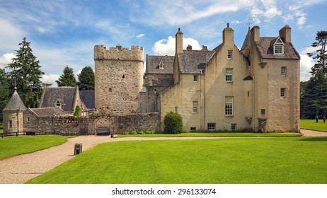 ABERDEENSHIRE, SCOTLAND - JULY 11: Drum Castle and grounds on July 11, 2015 in Aberdeenshire, Scotland. Drum Castle was originally built in the 14th century.