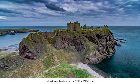 ABERDEENSHIRE, SCOTLAND - MARCH 24 2016: Dunnottar castle located on a rocky headland on the northeastern coast of Scotland overlooking the North Sea