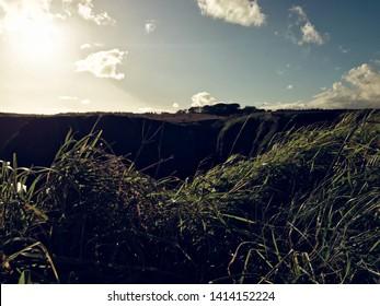 ABERDEENSHIRE, SCOTLAND - MAY 2019 : Amazing scottish landscape of Dunnottar Castle. Stonehaven, Aberdeenshire, Scotland, United Kingdom.