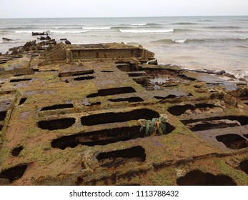 Aberdeenshire, Scotland: May 30th 2018 - corroded remains of the shipwreck 'Anna' from 1959 off the coast of Scotland.