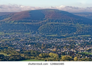 Abergavenny benieth the slopes of Blorenge viewed from Ysgyryd Fawr, Monmouthshire, Wales