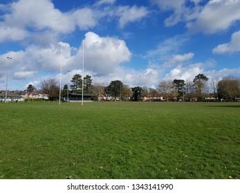 Abergavenny, Monmouthshire - 03 17 2019: Abergavenny RFC rugby pitch in Baily Park Abergavenny.