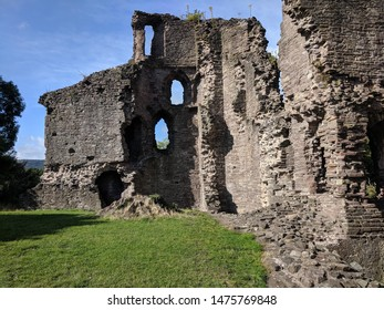 Abergavenny. Monmouthshire. Wales. 8. 6. 2019. Castle ruins towers and ditch as fortifications