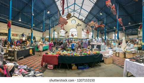 ABERGAVENNY, MONMOUTHSHIRE, WALES - OCTOBER 2018: Panoramic view of the indoor market hall in Abergavenny town centre.
