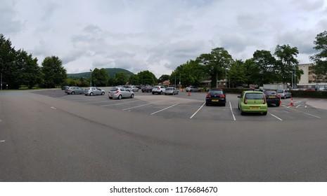 Abergavenny, UK - 07 29 2017: The car park at Nevill Hall Hospital in Abergavenny