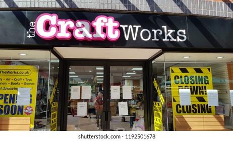 Abergavenny, UK - 09 25 2018: The now closed CRaft Works shop in Abergavenny, Wales, UK