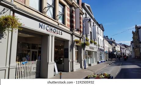 Abergavenny, UK - 09 25 2018: The Nicholls Store in Abergavenny, Wales, UK