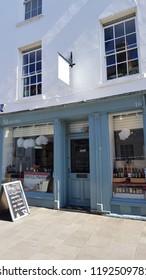 Abergavenny, UK - 09 25 2018: The Marches Delicatessen store front Abergavenny, Wales, UK