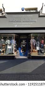 Abergavenny, UK - 09 25 2018: The Retreat Clothing Store in Abergavenny, Wales, UK