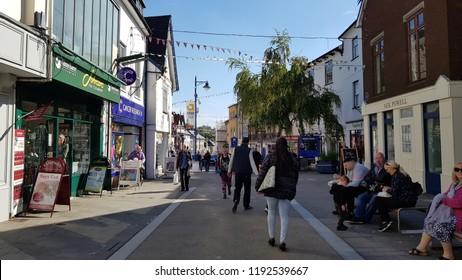Abergavenny, UK - 09 25 2018: A Busy Street in Abergavenny Wales Uk