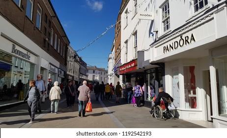 Abergavenny, UK - 09 25 2018: A Busy High Street in Abergavenny.