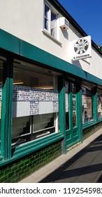 Abergavenny, UK - 09 25 2018: The Music One Vinyl record shop in Abergavenny Wales UK