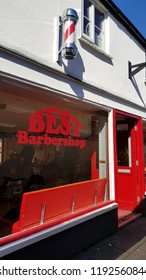 Abergavenny, UK - 09 25 2018: Best Barber Shop in Abergavenny Wales UK