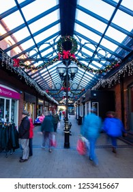 Abergavenny, UK - 12 09 2018: People Christmas Shopping in the Welsh Abergavenny Town