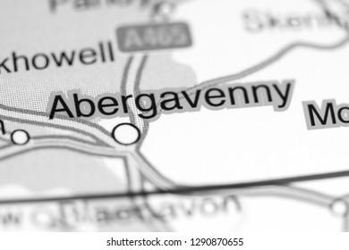 Abergavenny. United Kingdom on a map