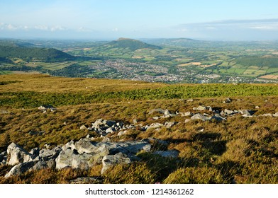 Abergavenny viewed from the top of Blorenge, Ysgyryd Fawr in the middle distance